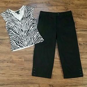 Black capri pants, size 4, good condition